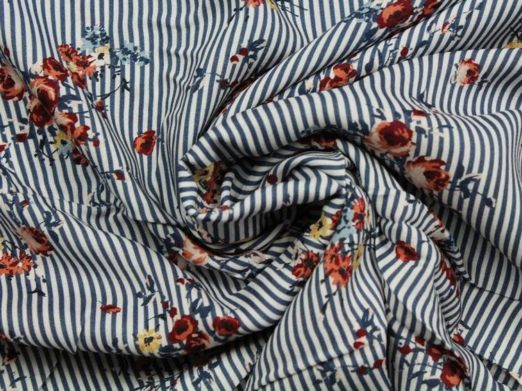 Flower Stripe blau Viscose - 0