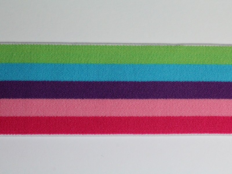 Gummiband Multi Stripes 40 mm Lime - Aqua