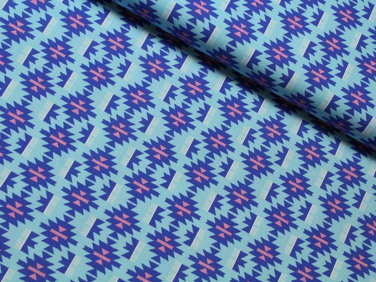 Lama Ikat Canvas blau
