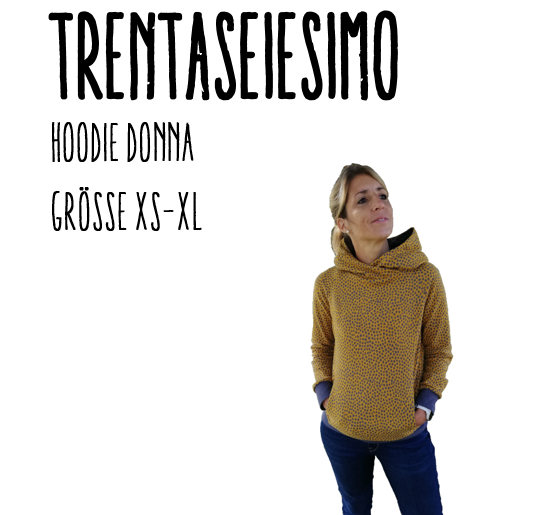 Trentaseiesimo Hoodie Donna Ebook by Stoffherz Grösse XS-XL